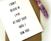 Valentines Day Card - Love At First Sight Card - Love Card - Card For Husband - Card For Wife - Love Greeting Card