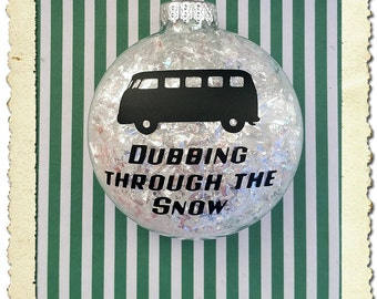 Volkswagen Kombi VW Bus Dubbing Through The Snow Christmas Ornament