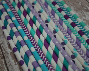 30 Jasmine Party Straws --  Aladdin Paper Straws -- aqua, lavender, purple