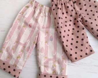 reversible pants in organic cotton and linen blend, birch trees and polka dot, sizes 6-12m 12-18m 18-24m 3T