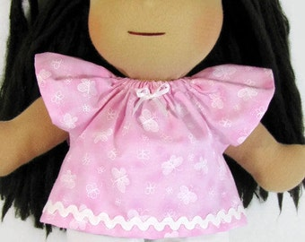14, 15, 16 inch Waldorf doll clothes pink and white butterfly doll top and white knit pants, pink white doll clothes, waldorf doll outfit