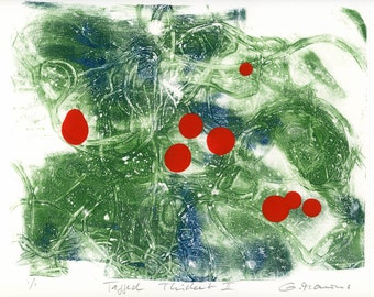 ORIGINAL work  / Tagged Thicket II //  green red ooak gelatin print composition handpulled print