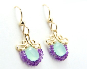 Petunia - Petite Aqua Chalcedony Purple Amethyst Gold Filled Earrings | February Birthstone Earrings