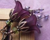 Romantic Deep Purple Flower Earrings  - Dark Purple Flowers, Gift for Gardener, Garden Wedding, Vintage Style Jewelry, Bridemaid Jewelry