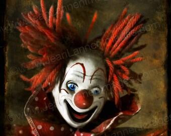 Bozo The Clown's Secret - Photograph - 7x7  Creepy, Scarey, Sepia Red Orange, Vintage, Polaroid Style, Carnival, Amusement  by Jean Lannen