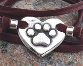 Paw Print on my Heart Wrap Bracelet, Pewter and Leather, Gift for Dog or Cat Lover, Brown or Black Lace