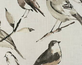 Birdwatcher charcoal curtains 50 inches wide, 63, 72 or 84 long