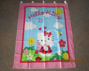 """Hello Kitty in the Flower Garden Wall Hanging 35"""" x 43"""" (backed in white cotton fabric) with 5 loops to hang up Clearance Sale 25% Off*"""