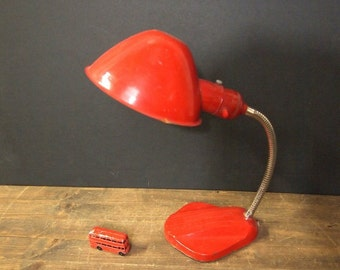 Free Shipping Goosneck Helmet lamp Vintage Red   no cord as-is Free Shipping