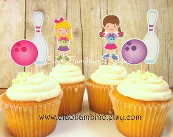 Bowling Cupcake Toppers / Die Cut Cupcake Toppers / Bowling Party for Girls in Pink and Purple / Set of 12