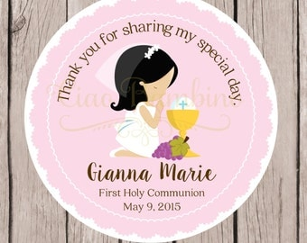 PRINTABLE Girls First Holy Communion Favor Tags in Pink / Print Your Own Personalized Communion Stickers / Choose Your Hair Color