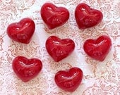 Puffy Red Glass Hearts 3D Valentine's Day Mosaic Tiles or Mixed Media Great for Jewelry Wire Wrapping