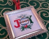Christmas Joy hand embroidered framed ornament