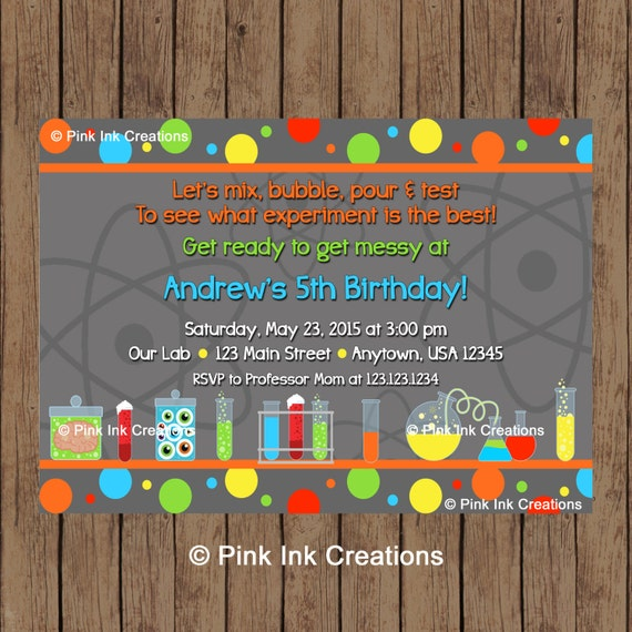 SCIENCE Birthday Invitation Science Party Invitation Science