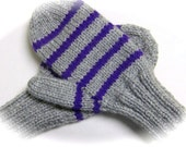 Mittens, Children, Hand Knit, Silver Gray with Purple Stripes, 5 to 7 years
