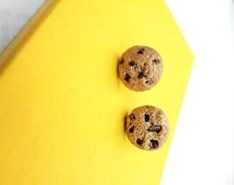 Chunky Dark Chocolate Chip Cookie Clay Earrings - mOytoyz