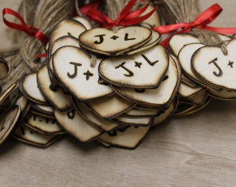 "Rustic Wedding Heart Favor Tags 100 - 2"" Woodburned Custom Personalized Initials Bride Groom Country style weddings Woodland wedding favors"