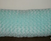 Accent-Decorative Body Pillow Cover- Free US Shipping-Approx 17 1/2 X 49 inch Aqua Swirl Fur-Minky Cuddle Rose-Perfect for College-Dorm