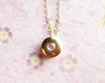 Gold Solitaire Necklace CZ Bezel Necklace gold filled CZ necklace  layered jewelry  gifts for her Christmas Present layered necklace