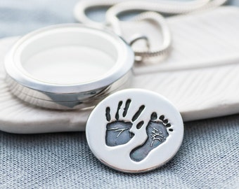 Baby Footprint and Handprint Backplate for Floating Locket - silver personalised Backplate, handprint, baby print, keepsake, footprint