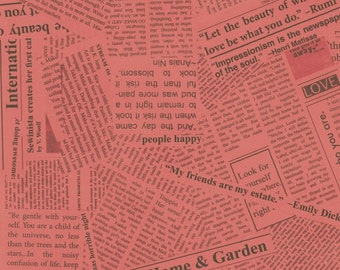 Paint - By Carrie Bloomston Of SUCH Designs - For Windham - Coral Newsprint - 1 yard - 9.95 Dollars