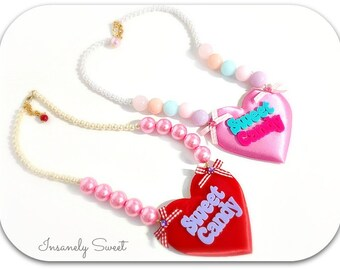 SALE-Sweet Candy Necklace-  Conversation Hearts Kawaii Pastel Jewelry Heart
