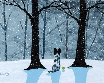 Black White Australian Cattle Dog LARGE folk art print by Todd Young FALLING SNOW