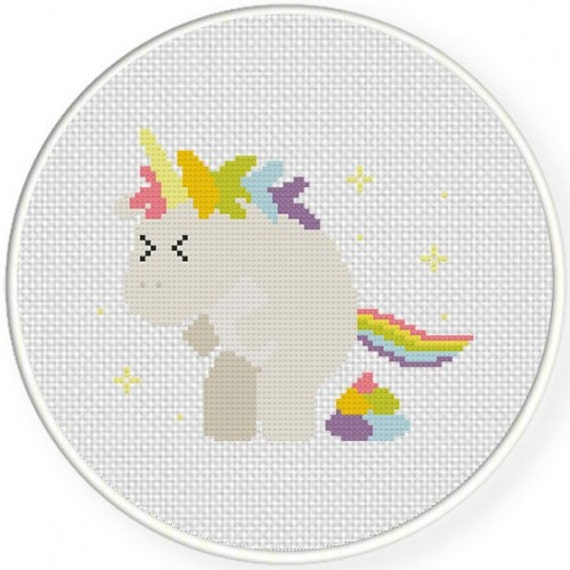 Pooping Unicorn - Cross Stitch Embroidery Hoop Art - Made to order - 6""