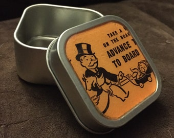 ADVANCE TO BOARDWALK - Vintage Monopoly Chance Altered Tin/Pill Box