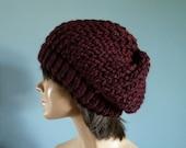 Slouchy Beanie Winter Hat in Burgundy - Winter Accessories