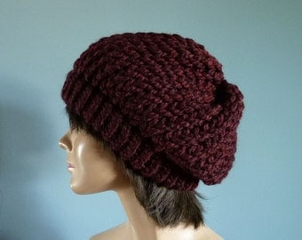 Slouchy Beanie Winter Hat in Burgundy - Winter Accessories, Knit Accessories, Women