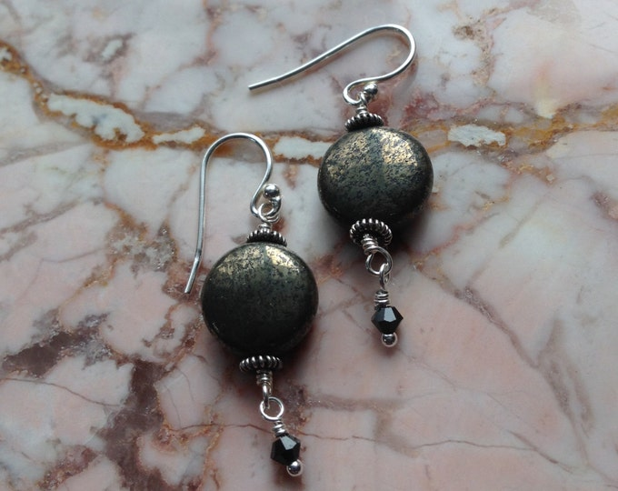 Pyrite and Swarovski Crystal Earrings