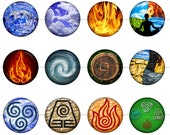 """1"""" Inch Elements of Nature Pins, Flatback Buttons or Magnets 12 Ct."""