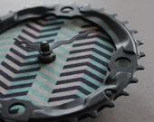 Bicycle Gear Clock - Chevron | Bike Clock | Wall Clock | Recycled Bike Parts Clock