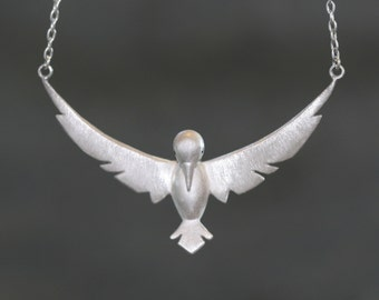Winged Bird Necklace in Sterling Silver with Gemstones