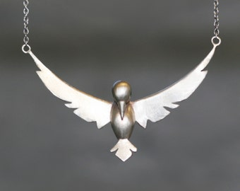 Winged Bird Necklace in White Bronze with Gemstones