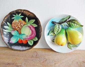 Decorative Wall Plates, 1950s Japan Miniature Ceramic Plates, Pineapple Decor, Pear Decor, Kitschy Kitchen