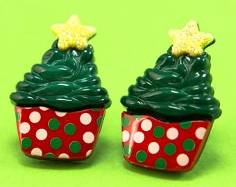 Christmas Cupcake Ear Posts - Kawaii Holiday Stud Earrings - Dots - Green Red White Yellow - Sparkles