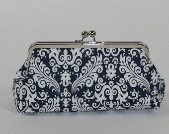 Personalized clutch,bridesmaid clutch, Navy Damask clutch , wedding clutch,personalized gifts