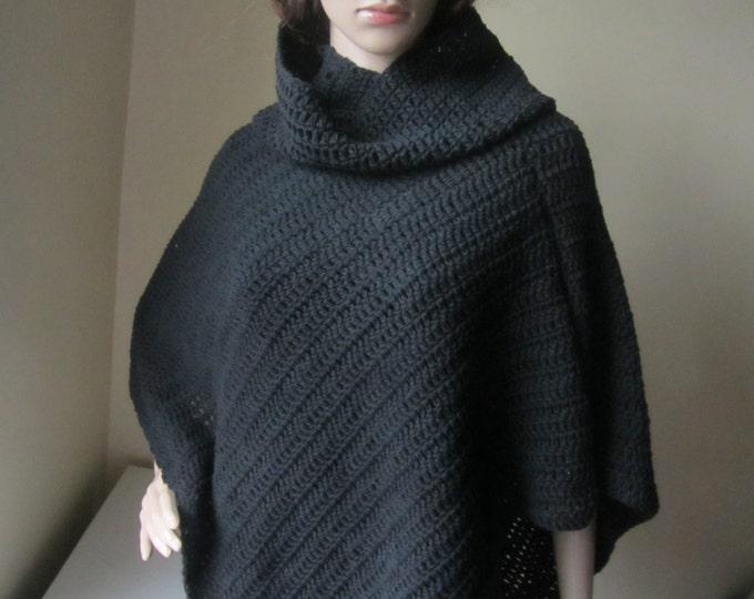 BLACK CROCHET PONCHO, Festival clothing,  womens poncho, Black cotton, cowl neck, bohemian, boho fashion,