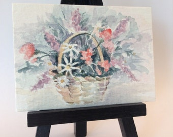 ACEO Artist Trading Card, Watercolor, Floral in Wicker Basket