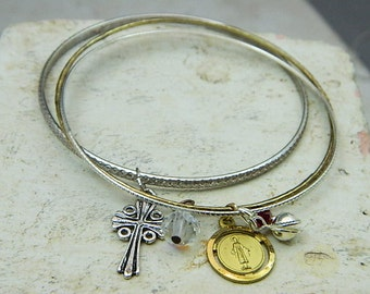 Religious Medal Bangle Bracelets-Religious Jewelry-Cross Jewelry--- The Virgin Of Nazareth And The Cross
