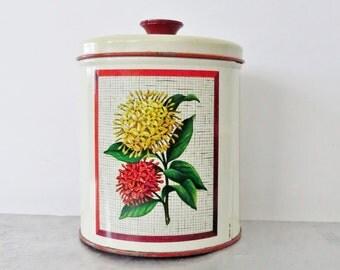Canister, three flower, vintage kitchen