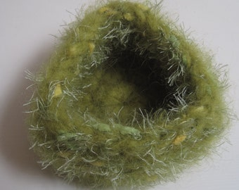 "triangle felt bowl, chartreuse felted bowl, green felted bowl, crochet ""nest"",  chartreuse fuzzy bowl, green felt basket ""shamrock"""