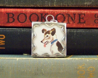 Dog Pendant - Brown and White Terrier Dog Charm - Soldered Glass Charm -  Dog Lovers Pendant - Dog Necklace - Pet Lover - Vintage Book Art