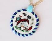 Life in the country pendant collector murrine slice/coin miniature glass mosaic millefiori