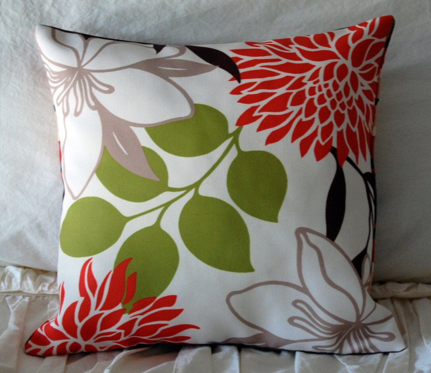 Modern Floral Pillow : Avora Modern Floral Pillow / abstract graphic bedding / earth