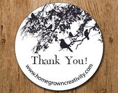 Customized Stickers - Black Birds Tree Branch - Labels - Wedding - Birthday Party - Thank You Stickers