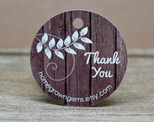 Custom Thank You Hang Tag - Price Tags - Gift Tag - Party Favor Wedding - Dark Wood Background Design