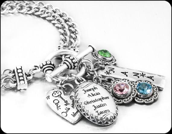 Grandmothers jewelry grand kids mother s bracelet grandchildren